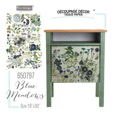 Blue Meadows Decoupage Decor Tissue Paper Redesign with Prima