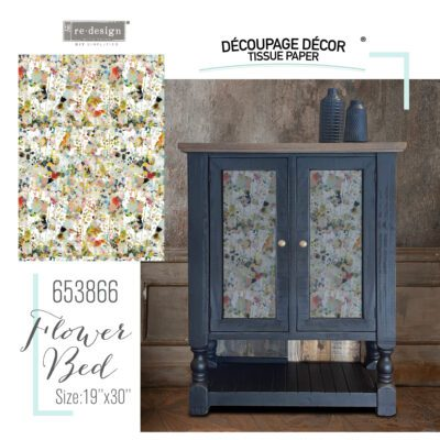 Flower Bed Decoupage Decor Tissue Paper Redesign with Prima